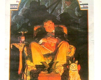 Large Norman Rockwell Print - Age of Chivalry - Saturday Evening Post Cover - 1970 Vintage Book Page - 17 x 12