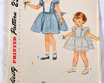 Vintage 1950s Sewing Pattern Simplicity 3180 Girls' Dress and Panties Size 6 Breast 24  Complete