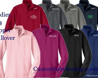 1/4 Quarter Zip Ladies Pullover - Pair with Boots and keep warm!  Monogrammed Custom for you