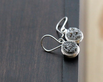 Druzy Silver Earrings, Gray Dangle Bezel Wrapped Oval Drops In Sterling Silver, Gifts For Her