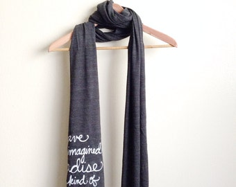 "Library Quote/Jorge Luis Borges ""I have always imagined Paradise"" Book Scarf. Made To Order"