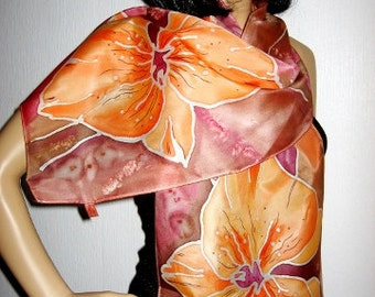 Hand Painted Silk Scarf Orchids women fashion Orange