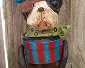 Folk Art Vintage Style Halloween Boston Terrier Dog Pirate Candy Container Ooak