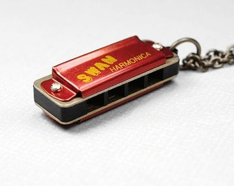Harmonica Necklace Miniature 3D small Red Gold brass metal playable Pendant Harmonica Necklace on an antiqued brass chain