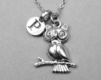 Owl on branch Necklace, owl charm, silver plated pewter, initial necklace, initial hand stamped, personalized, monogram