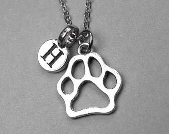 Dog paw Print Necklace, paw print monogram, dog lover necklace, personalized jewelry, initial necklace, Pet Owner gift, pet lover monogram