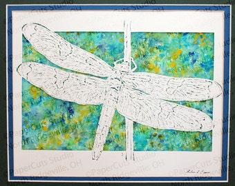 Dragonfly Papercutting- Handcut Original, Watercolor Backing