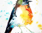 Colourful Robin painting watercolor bird DIGITAL DOWNLOAD
