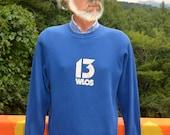 vintage 80s sweatshirt WLOS channel 13 tv western north carolina asheville television raglan crew neck Medium