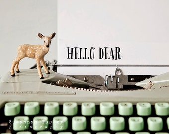 Hello Dear - quirky typographic print, fun photography, mint green, deer, vintage typewriter, toy fawn animal, nursery wall art animals