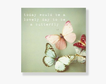 Pastel butterfly canvas art, girls room decor, whimsical kids wall art, typography, nursery decor, pale green, pink, blue, butterfly decor