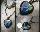 Rainbow Dichroic Glass Heart Necklace