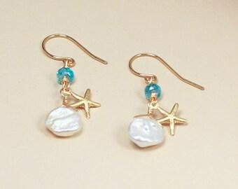 Keshi Pearl Apatite Earrings, Starfish Charm, Gold, Silver, Beach Wedding Earrings, Beachy Bridal, Bridesmaid, Beach Wedding Jewelry