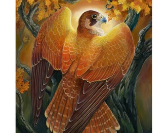 Voice of Autumn Light - Fantasy Falcon Print