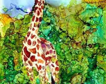 Giraffe In the Brush Original 5x7 AIArt Painting