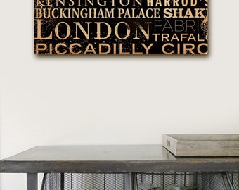 London Streets and Places typgography graphic art on gallery wrapped canvas by stephen fowler