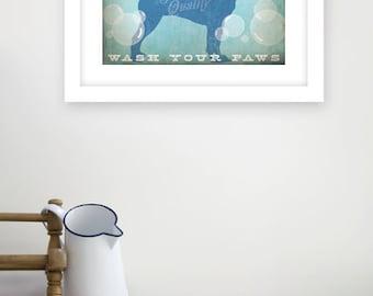 Boston Terrier dog soap company bathroom washroom  artwork giclee archival signed artists print