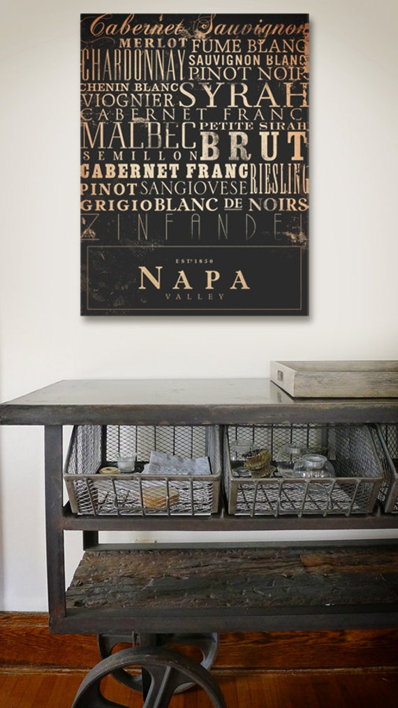 Napa wines typography graphic word artwork on gallery wrapped canvas by stephen fowler