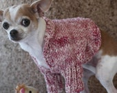 Hand-knit dog shrug, SALE FREE SHIPPING,  Dusty Rose/White blened hand spun wool and silk, size small.
