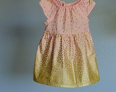 Dress - gold pink blush dots baby toddler glitter first birthday wedding photo shoot 0-3, 3-6, 6-12 12-18, 18-24, 2t, 3t, 4t, 5t, 6, 7