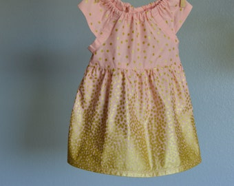 Dress - Easter gold pink blush dots baby toddler first birthday wedding photo shoot 0-3, 3-6, 6-12 12-18, 18-24, 2t, 3t, 4t, 5t, 6, 7 Spring