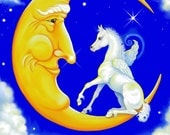 ACEO,  Pegasus, Man In The Moon, Fine Art Fantasy Print, White Horse, Limited Edition