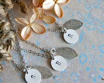 Set of 4 Bridesmaid Necklaces, Rustic Wedding, Personalized,  Bridesmaid Set,  Initial, Bridesmaid Gift, Forest Bridal Party Gift