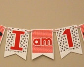 I am 1 banner - I am One banner - First Birthday Banner - PUPPY DOG banner - 1st Birthday banner - high chair banner - party banner