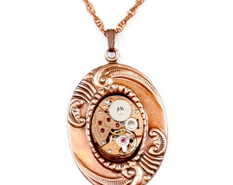 Steampunk Art Nouveau Oval Filigree Necklace with RARE Vintage Copper Watch Movement by Velvet Mechanism