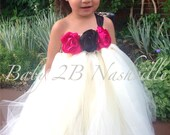 Wedding Flower Girl Dress in Ivory with Fuchsia and Black Accents All Sizes