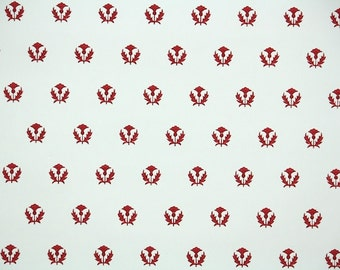 1940s Vintage Wallpaper - Geometric Wallpaper with Red floral motiff