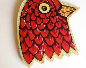 Wall Art, Print on Wood, Painting, Bird Head Painted Woodblock Print Mounted on Wood