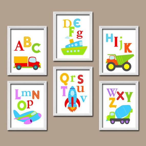Nursery Wall Decor Transportation : Transportation wall art baby boy nursery artwork cars trucks