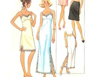 Womens Lingerie Full Slip Two Lengths / Half Slip Three Lengths - Vintage Sewing Pattern Simplicity 7069 - Bust 46-48