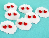 Happy Heart Earrings - Red Acrylic Studs