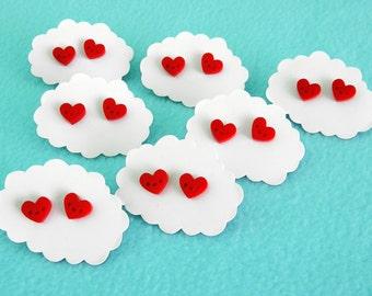 Happy Heart Earrings - Red Acrylic Studs