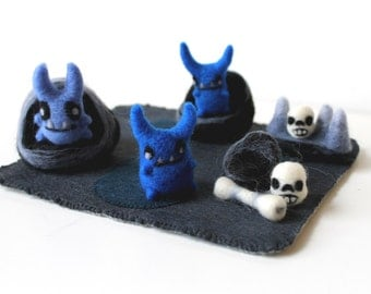 Needle Felted Monster Dwelling Play Set Soft Sculptures - Ready to Ship - Felt Monsters and Bones Set
