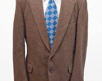 Men's Blazer / Vintage Brown Wool Jacket / Size 44 Large