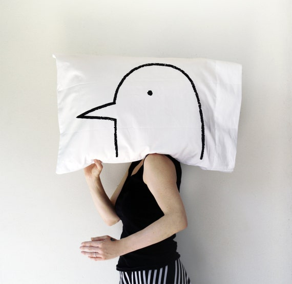 Love Bird Pillow case : funny valentine gift for her, gag gift, romantic valentine's day decor, unique gift for boyfriend or girlfriend
