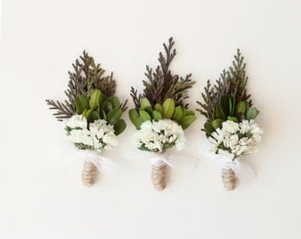 Wedding boutonniere, Natural groomsmen boutonniere, woodland wedding, keepsake, rustic boho  - CEDAR