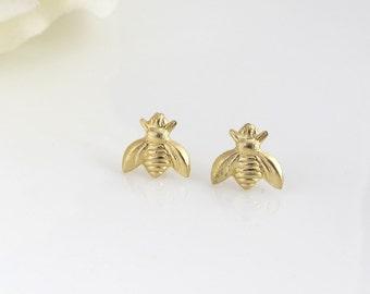 Gold Brass Bee Studs. Tiny Bee Stud Minimal Earrings. Honey Bumble Bee Summer Bee Woodlands Garden Nature Minimal Post Earrings