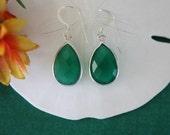 Green Teardrop Earrings,  Sterling Silver, Emerald Chalcedony, Bright Earrings,  Small, Tear Drop Gemstone, Heart Shape, Dangle Earrings