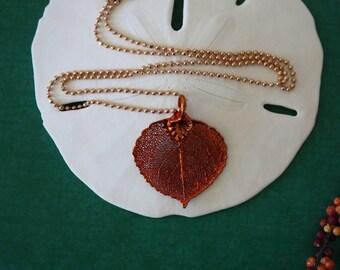 Copper Leaf Necklace, Real Leaf Necklace, Aspen Leaf, Copper Aspen Leaf, LC37