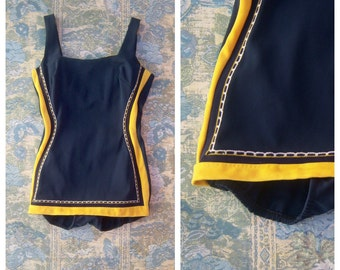 Vintage nautical swimsuit, navy blue yellow 50s bathing suit, one piece / Bombshell pin up playsuit sm-med