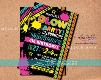 Glow, Neon, Birthday Invitation - Personalized Printable Digital File