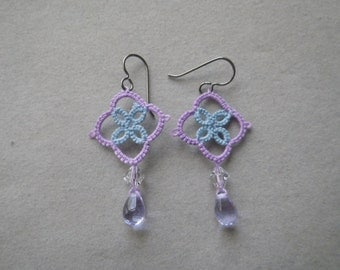 Lavender and light blue Tatted earrings with Swarovski crystal and Czech glass, lace jewelry, tatting jewelry, renaissance, Victorian, LARP