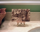"""Woodburned Barn Scene with Stand - 4""""x6"""" Pyrography"""