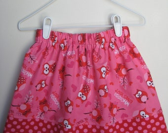 Valentine Skirt Hearts and Owls Boutique