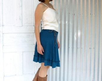 Hemp and Organic Cotton Ruffled Drawstring Skirt