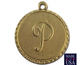 Raw Brass Letter P Initial Charm Drop with Loop (1) chr190P